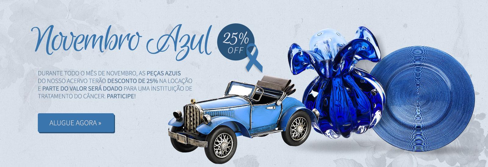 Todas as peças azuis com 25% de desconto somente em Novembro!